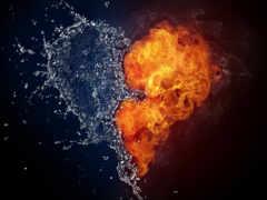 огонь, water, сердце