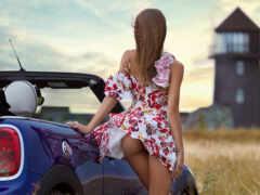 car, девушка, мини