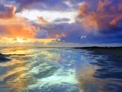 побережье, zakat, вечер