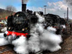 поезда, локомотив, ретро