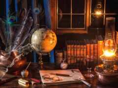 писатель, шар, книга