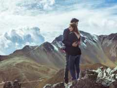 горы, вершине, стоят