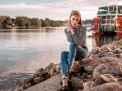 река, portrait, женщина