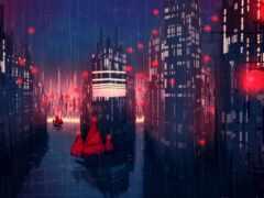 дождь, город, корабли