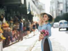 цветы, девушка, букет