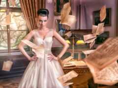 модель, книга, платье