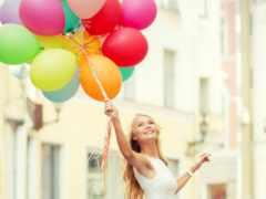 воздушными, шарами, красочными