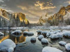 снег, природа, озеро