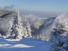 снег, туман, горы