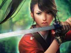 девушка, anime, мечем