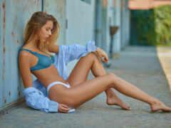 sit, девушка, blue