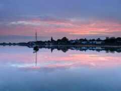 озеро, закат, горизонт