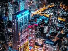 город, aerial, взгляд