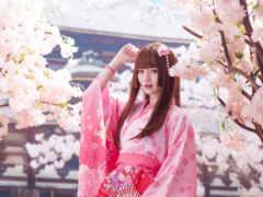 кимоно, девушка, пагода