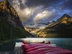 гора, banff, озеро