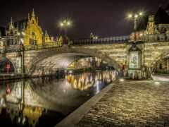 мост, огни, ночь