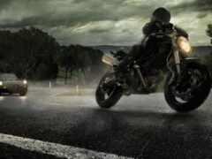 мотоцикл, мотоциклист, дождь