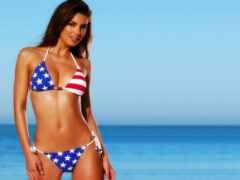 девушка, американский, купальник