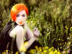 волосами, девушка, оранжевыми