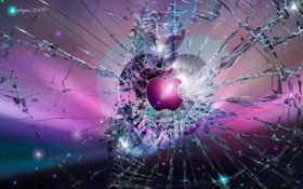 apple на разбитом стекле
