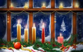 свечи, рождественские, christmas