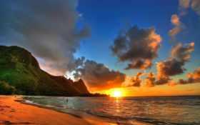 landscape, закат, берег