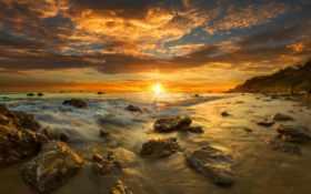 пляж, закат, state