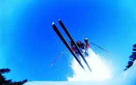 горные, лыжи, спорт
