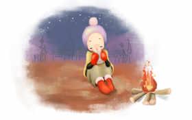 девушка с чаем у костра