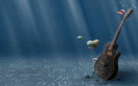 гитара, underwater, под водой