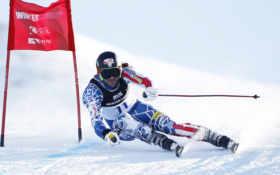 спорт, спуск, лыжи