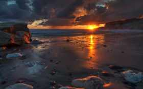 landscape, sun, рассвет