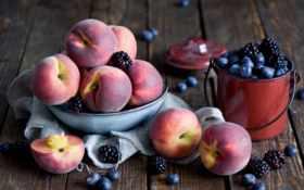 blueberries, еда, персики