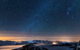 ночь, звезды