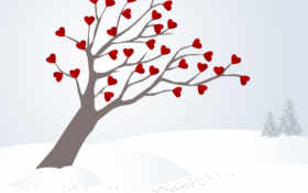 дерево, сердца