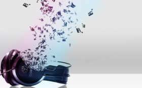 музыка, наушники, ноты
