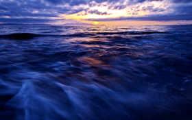 море, синее, горизонт