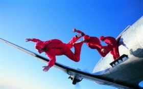 парашютом, прыжок, вольтижировка