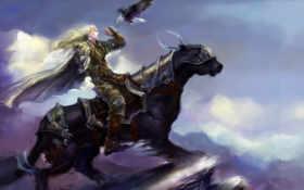 всадник, лошадь, птица