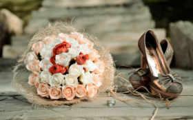 кольца, розы, букет