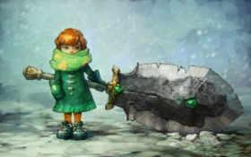 anime, снег, девушка