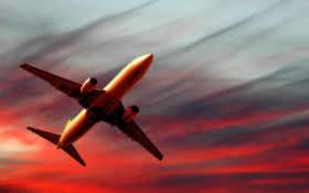 самолет, закате
