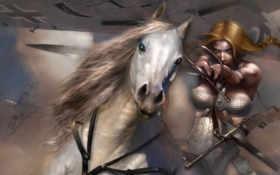 девушка, конь
