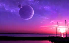 sunset, планеты