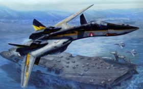 самолёт, macross, авианосец