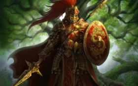 warrior, abstract, knight
