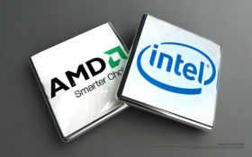 amd и intel логотипы объёмные