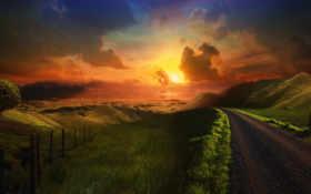 road, sunset