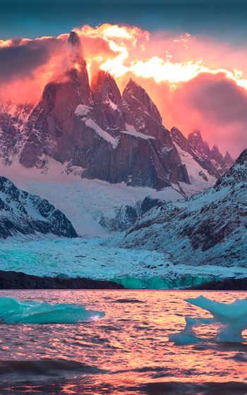 ,, природа, mountainous landforms, гора, небо, солнце, горный хребет,  ледник,