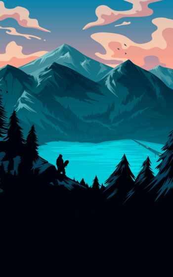 phoneky, озеро, duvar, гора, mount, scenery